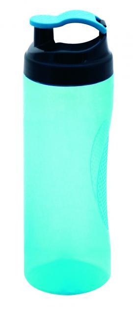 Trinkflasche Vitality 450 ml Transparent / Cyanblau | Siebdruck, 2-farbig