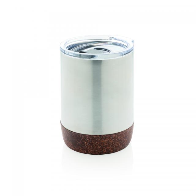 Vakuum-Tasse mit Kork-Details silber | Digitaldruck