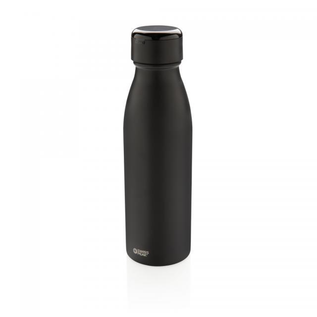 Swiss Peak Vakuum Flasche mit Mini True-Wireless Kopfhörern schwarz | Gravur