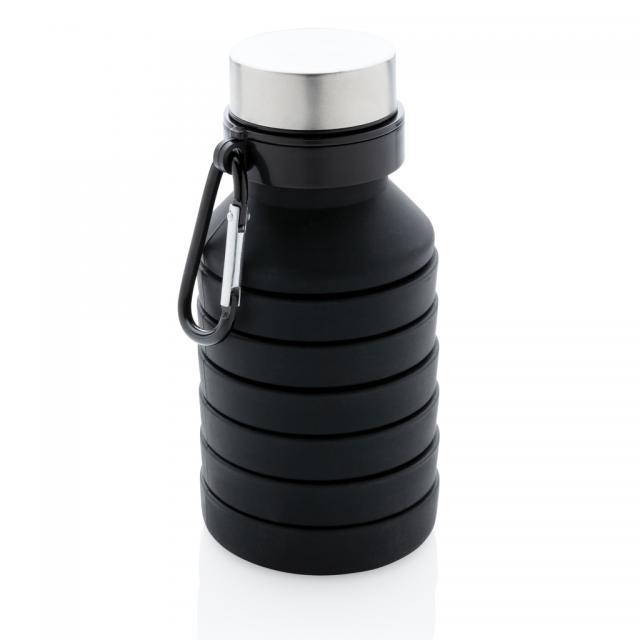 Auslaufgeschützte faltbare Silikonflasche schwarz | Unbedruckt