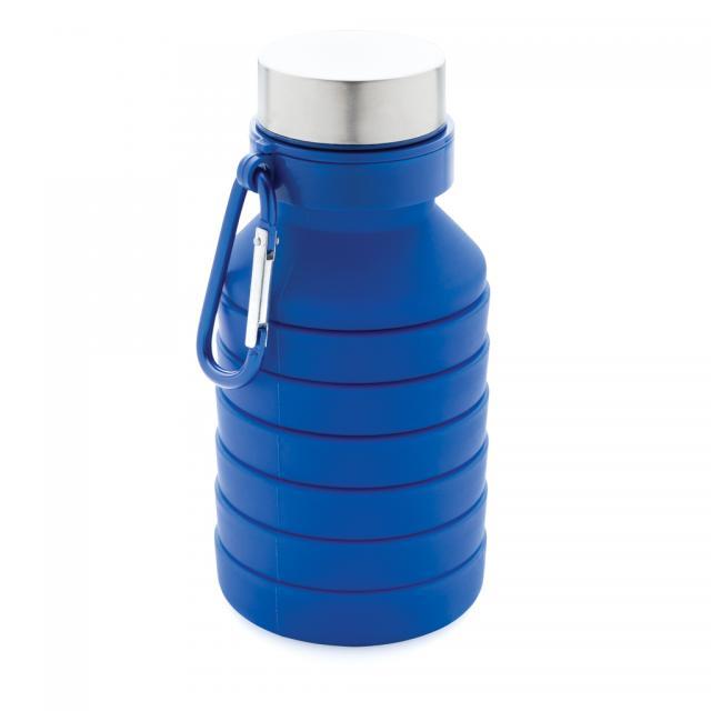 Auslaufgeschützte faltbare Silikonflasche blau | Tampondruck, 1-farbig
