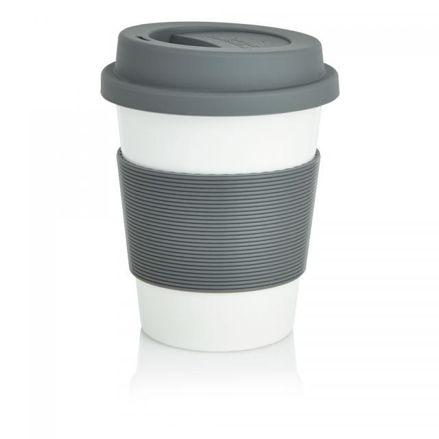 ECO PLA Kaffeebecher grau, weiß | Unbedruckt