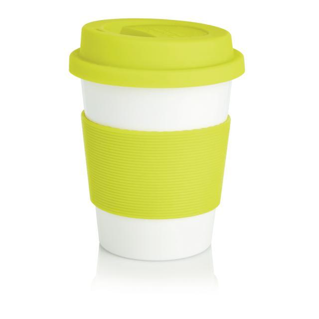 ECO PLA Kaffeebecher limone, weiß   Unbedruckt