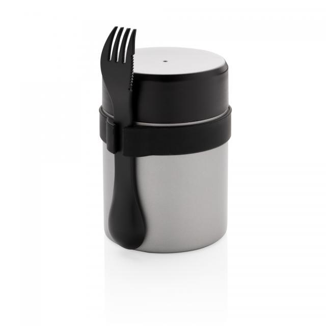 Bogota Food-Container mit Keramik-Überzug silber, schwarz | Unbedruckt