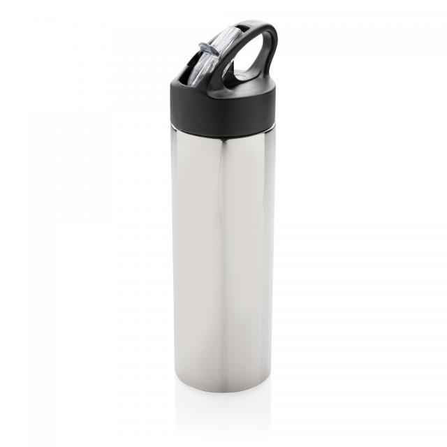 Sport Edelstahlflasche mit Trinkvorrichtung silber | Digitaldruck