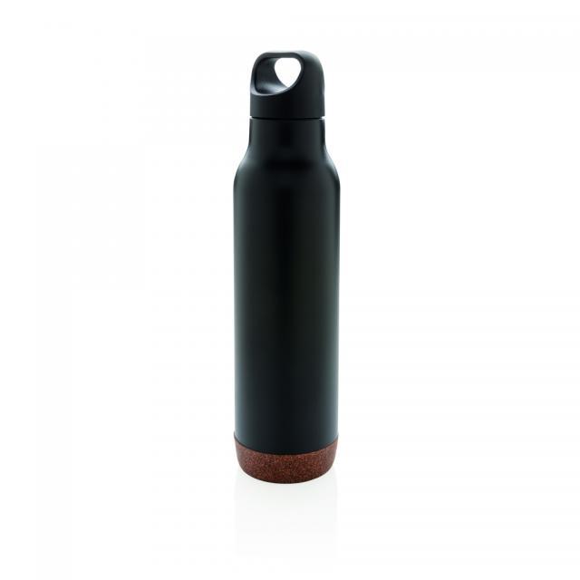 Auslaufsichere Vakuum-Flasche mit Kork schwarz | Gravur