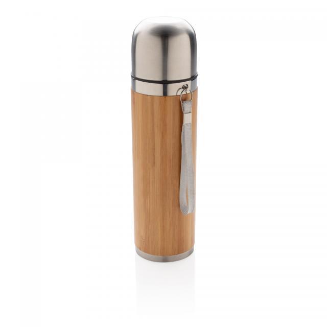 Auslaufsichere Bambus-Vakuumflasche Groß braun | Unbedruckt
