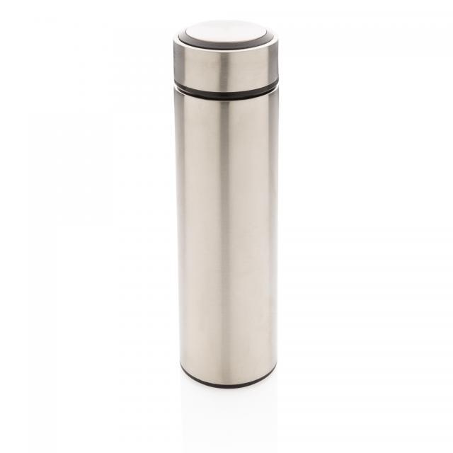 Vakuum Stainless Steel Flasche mit gebürstetem Metalldeckel silber | Unbedruckt