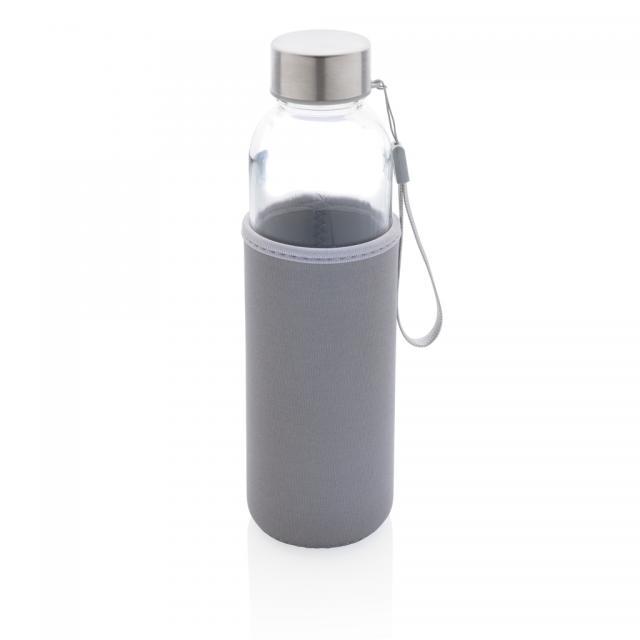 Glasflasche mit Neopren-Sleeve grau | Unbedruckt