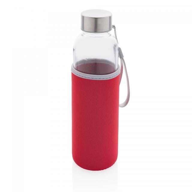 Glasflasche mit Neopren-Sleeve rot | Unbedruckt