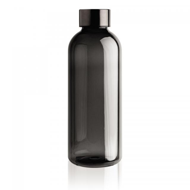 Auslaufsichere Trinkflasche mit Metalldeckel schwarz | Siebdruck, 1-farbig