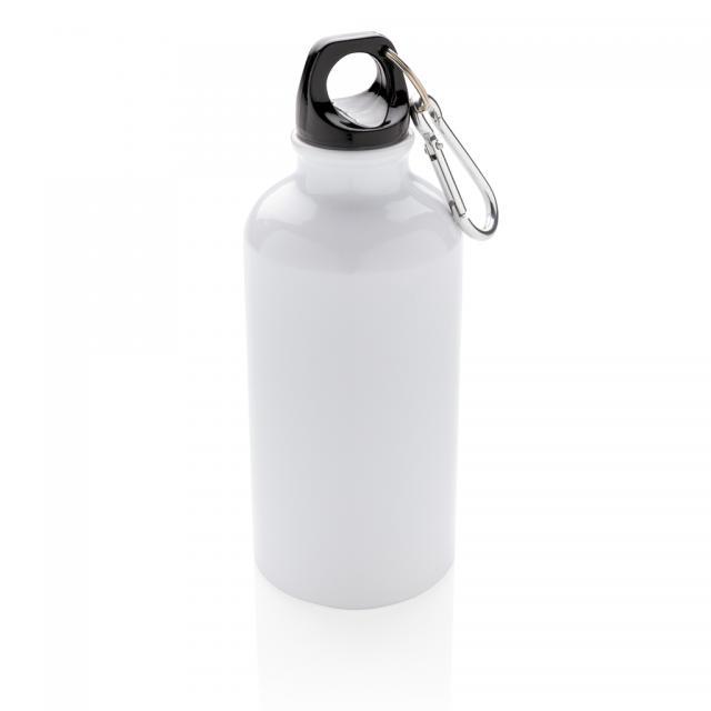 Aluminium Sportflasche mit Karabiner weiß | Gravur