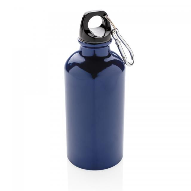 Aluminium Sportflasche mit Karabiner blau | Gravur