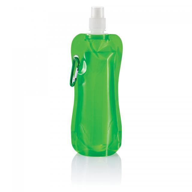 Faltbare Wasserflasche mit Karabiner grün, weiß | Unbedruckt