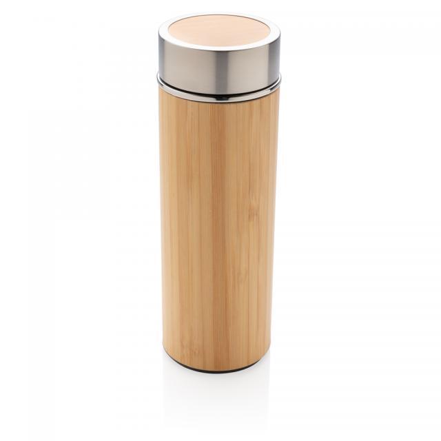 Auslaufsichere Bambus-Vakuumflasche klein braun | Gravur