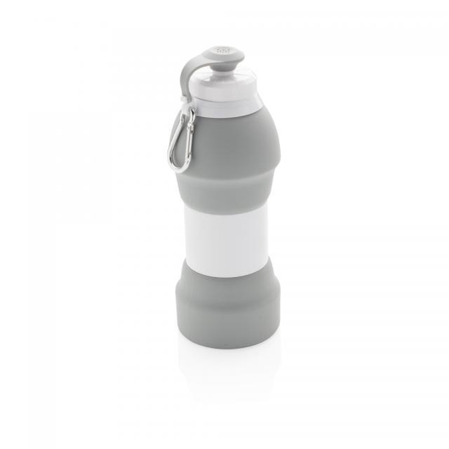 Faltbare Silikon-Sportflasche grau | Unbedruckt