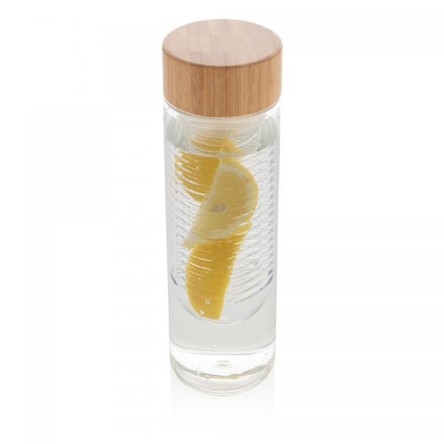 Aromaflasche mit Bambusdeckel transparent | Deckel-Gravur