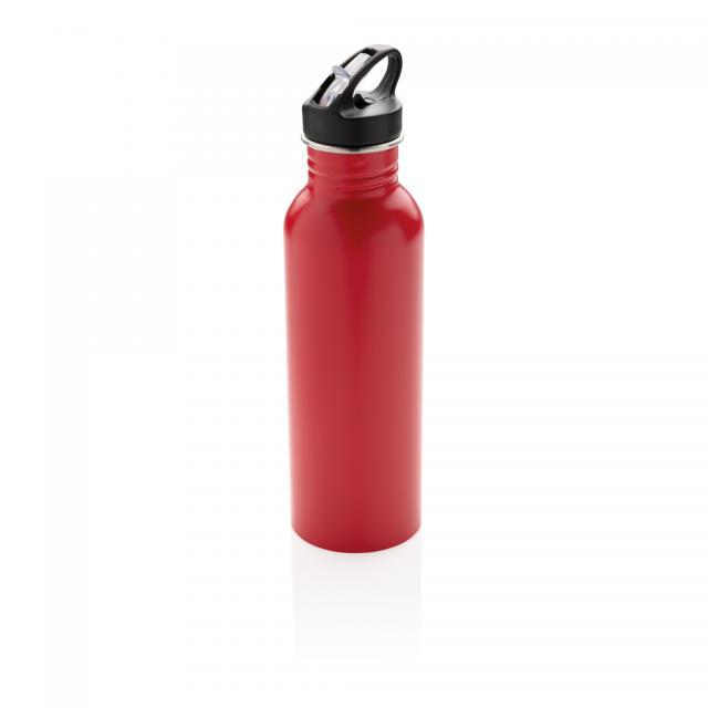 Deluxe Sportflasche aus Edelstahl rot | Siebdruck, 1-farbig