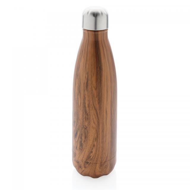 Vakuumisolierte Stainless Steel Flasche mit Holzoptik braun | Unbedruckt