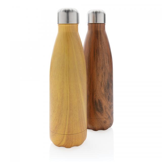 Vakuumisolierte Stainless Steel Flasche mit Holzoptik