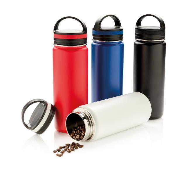 Auslaufsichere Vakuumflasche mit großer Trinköffnung