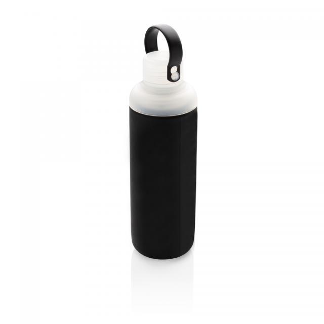 Wasserflasche aus Glas mit Silikonschutz schwarz | Unbedruckt