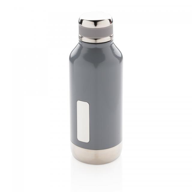 Auslaufsichere Vakuumflasche mit Logoplatte grau | Unbedruckt