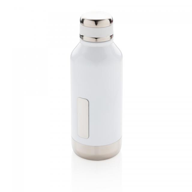 Auslaufsichere Vakuumflasche mit Logoplatte weiß | Unbedruckt