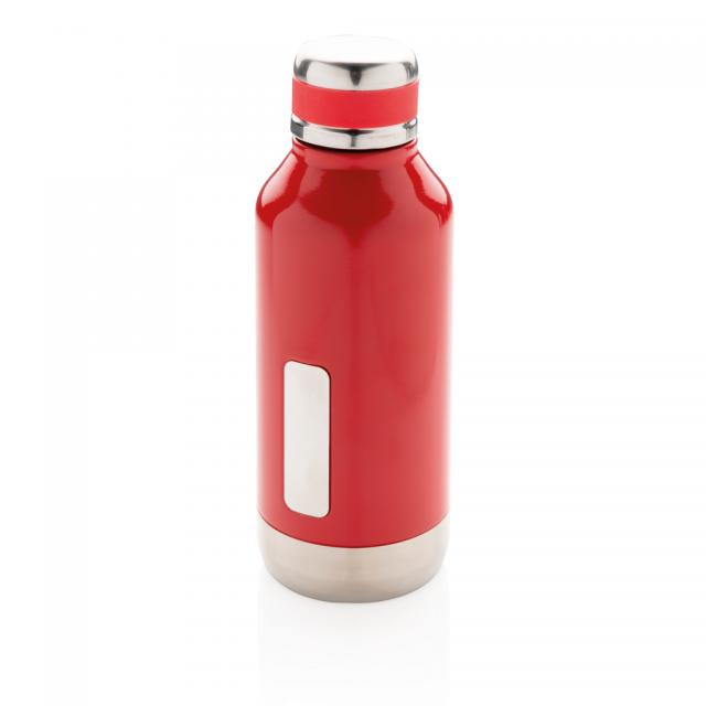 Auslaufsichere Vakuumflasche mit Logoplatte rot | Gravur
