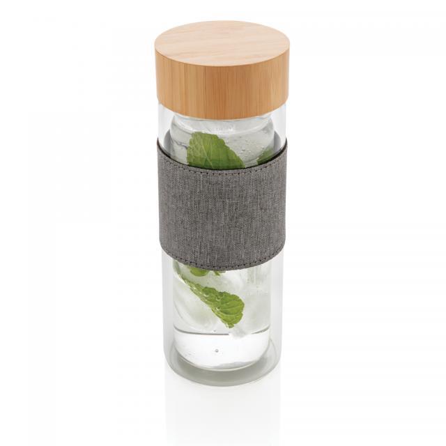 Impact doppelwandige Borosilikatglas-Flasche transparent, grau | Unbedruckt