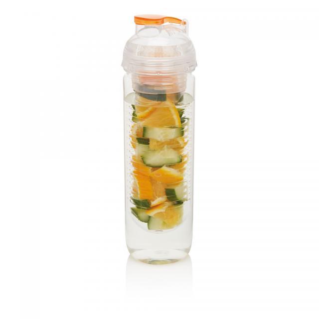 Wasserflasche mit Aromafach orange | Siebdruck, 1-farbig