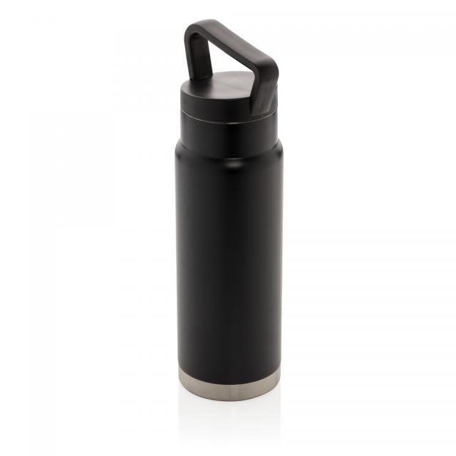 Auslaufsichere Vakuum-Flasche mit Tragegriff schwarz | Digitaldruck