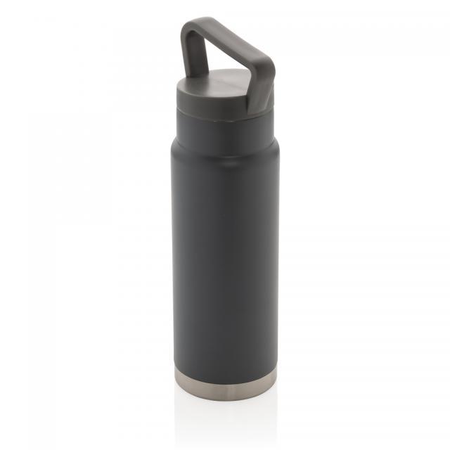 Auslaufsichere Vakuum-Flasche mit Tragegriff grau | Digitaldruck